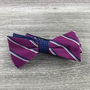 Stafford Purple Stripe Dotted Bow Tie